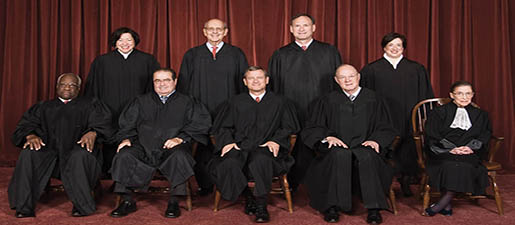 The justices of the U.S. Supreme Court. From left: Clarence Thomas, Sonia Sotomayor, Antonin Scalia, Stephen Breyer, Chief Justice John Roberts, Samuel Alito, Anthony Kennedy, Elena Kagan and Ruth Bader Ginsburg. (The Collection of the Supreme Court of the United States/MCT via Getty Images)