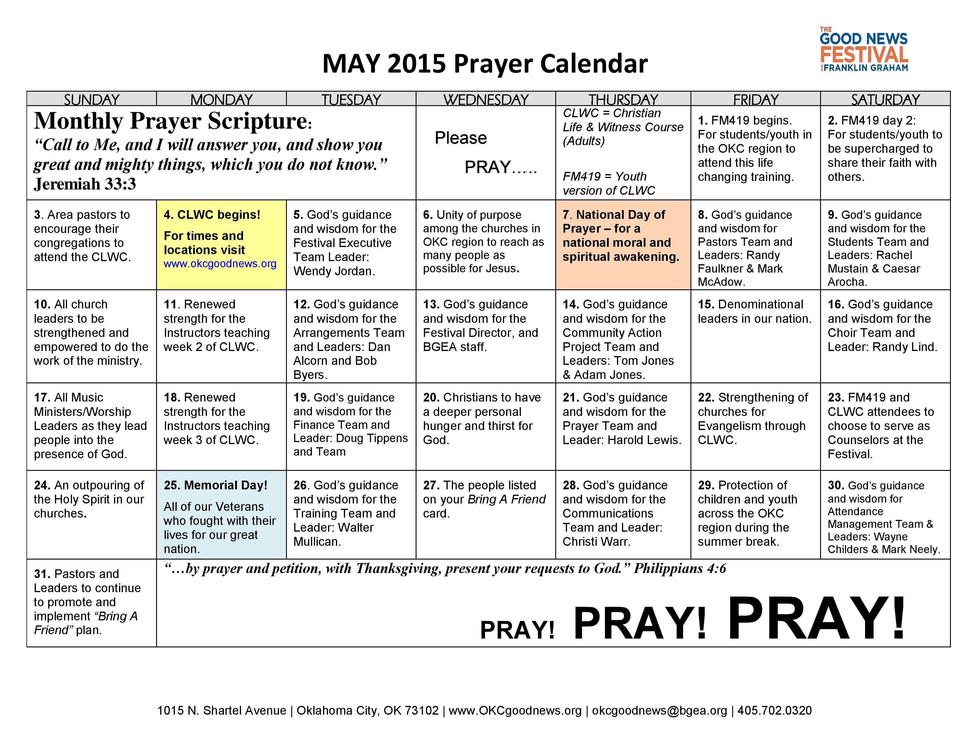 Downloadable Prayer Calendar For 2015 | Calendar Template 2016