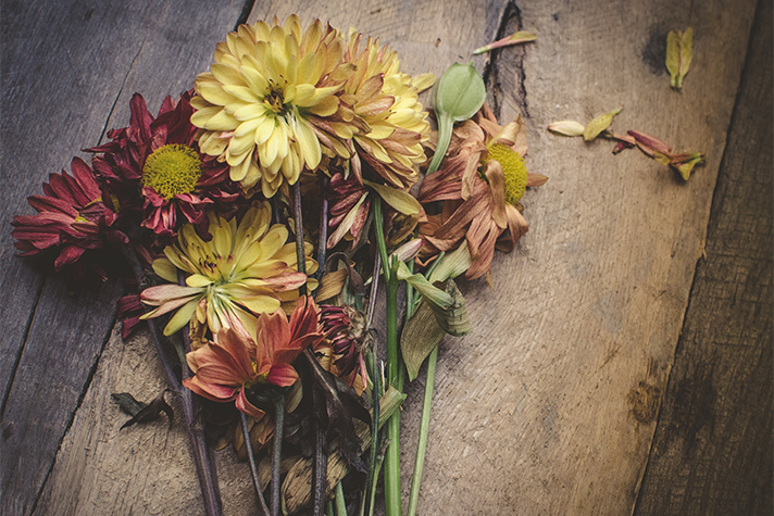 dying flowers on wooden box
