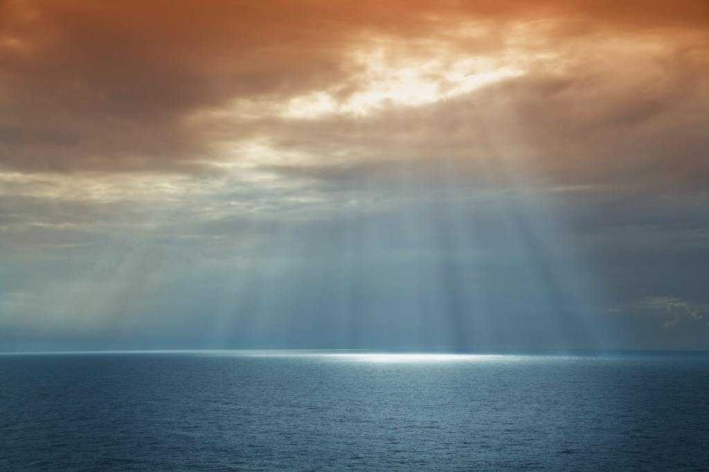rays of light on water
