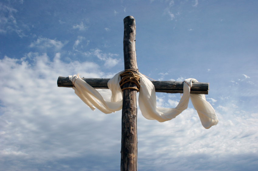 cross with white cloth