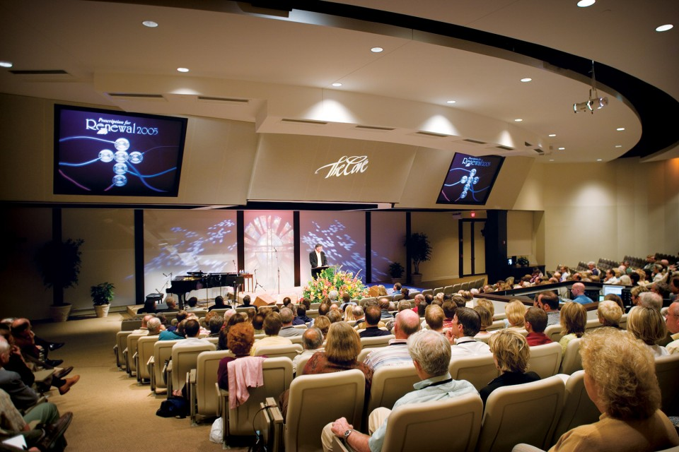 Franklin Graham leads a session in the auditorium of The Billy Graham Training Center at The Cove in Asheville, N.C.