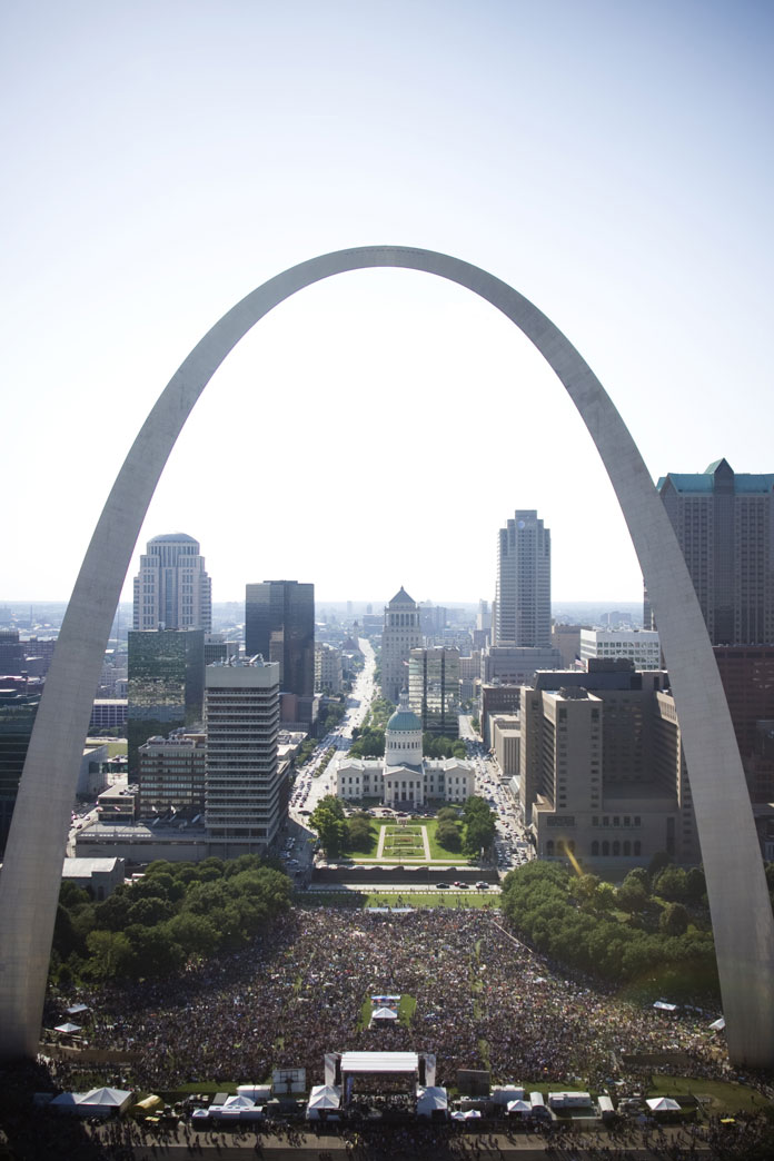 A view from above Rock the River on the Arch grounds in St. Louis.