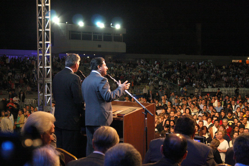 Taking the mantle from his father, Franklin Graham boldly shares the Gospel of Jesus Christ in Uruguay.