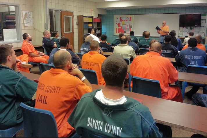 Inmates in Bible study