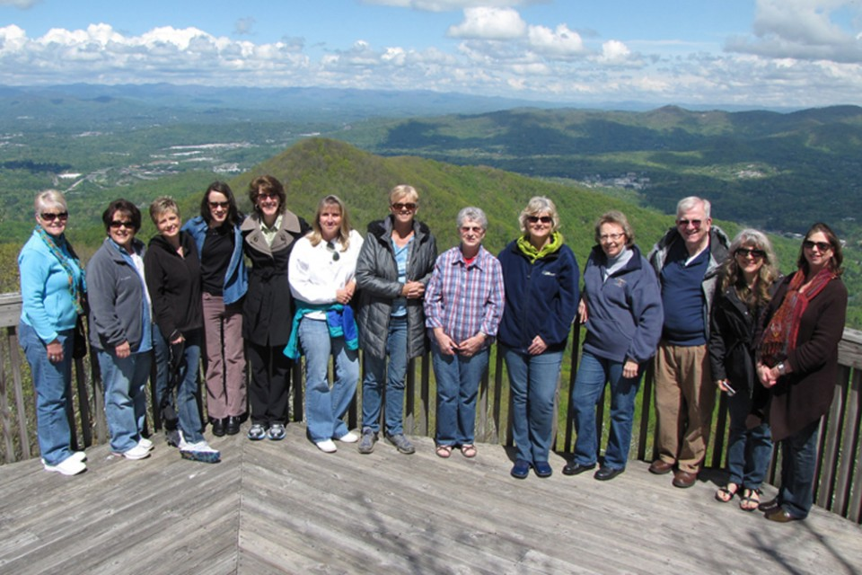 Cove staff overlooking the Blue Ridge Mountains