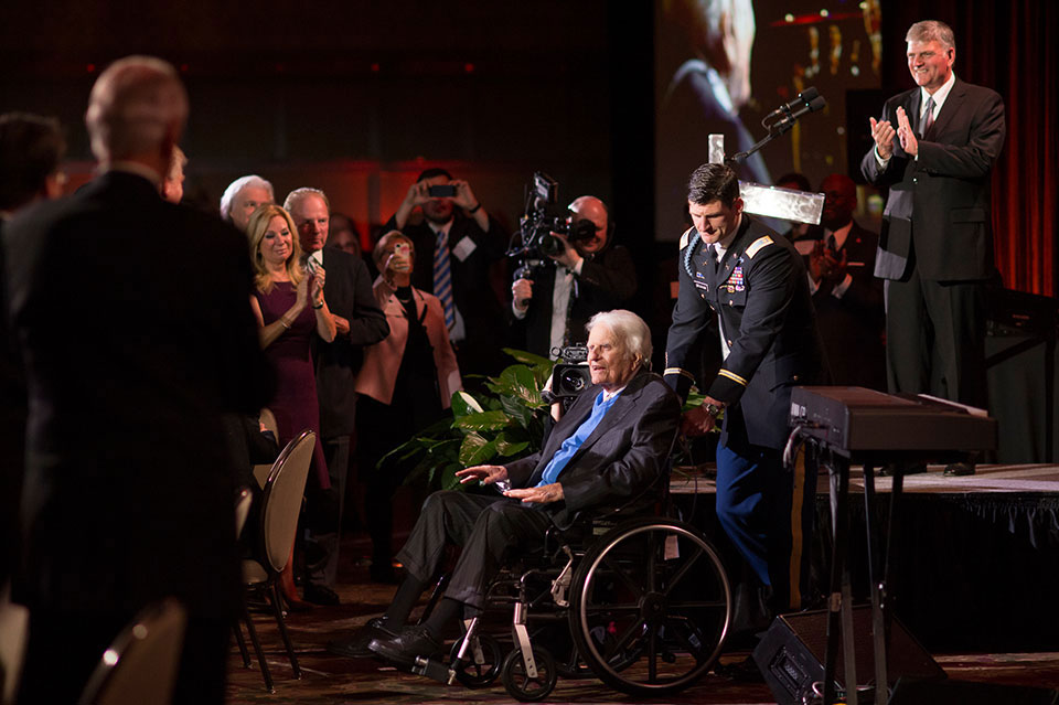 Hundreds of guests gathered together at the Grove Park Inn in Asheville, N.C., to honor Billy Graham on the night of his 95th birthday.
