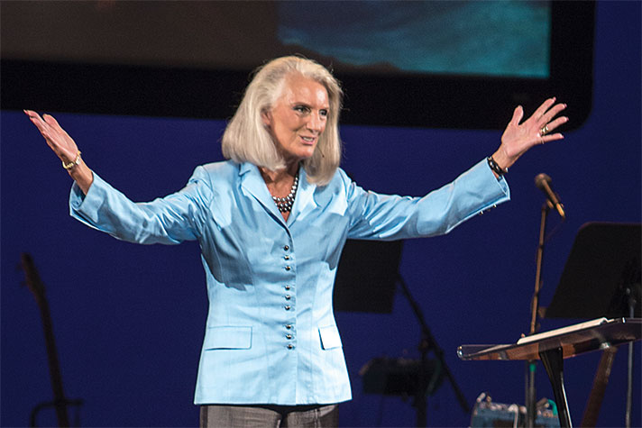 Anne Graham Lotz speaks to BGEA staff about Bible study during a session at the Samaritan's Purse Training and Conference Center in Blowing Rock, N.C.