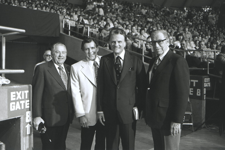 Grady Wilson, Cliff Barrows, Billy Graham, Bev Shea