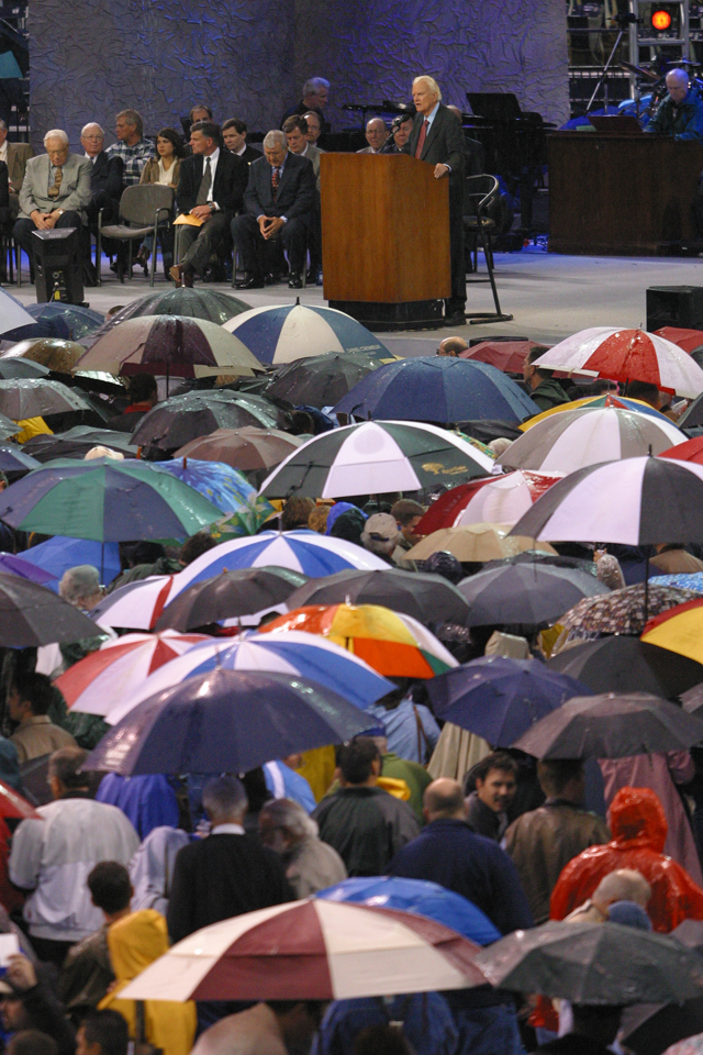 Umbrellas at podium in Texas