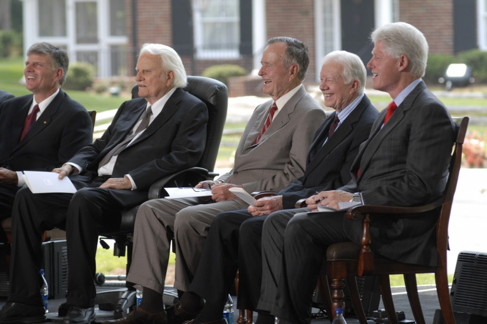 presidents at Library dedication bush clinton carter
