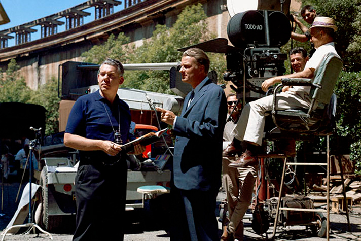 "Billy Graham visits the set of World Wide Pictures film, ""Man in the 5th Dimension,"" released in 1964."