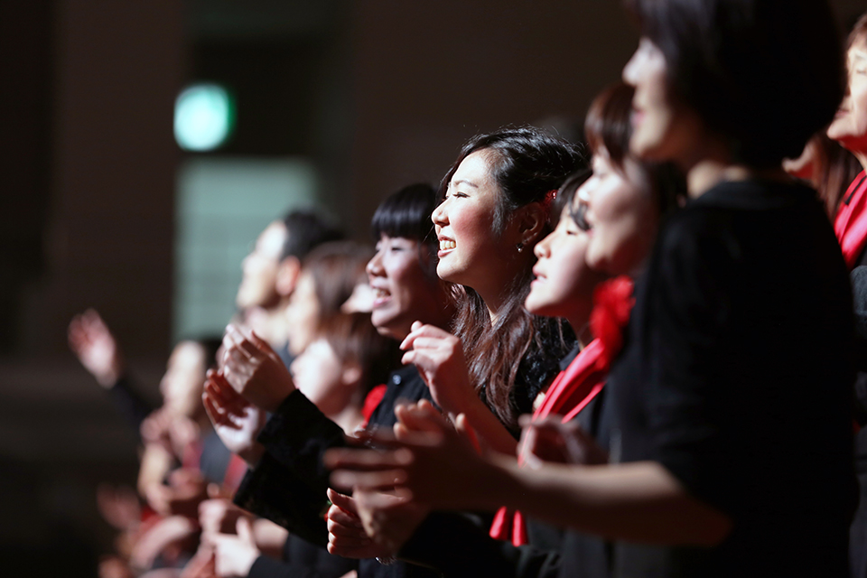 "The Fukuoka Celebration choir sings the gospel song, ""Hallelujah You're Worthy."""