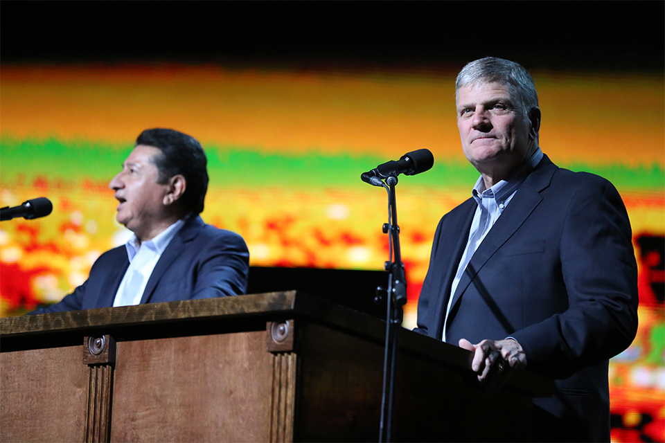 Franklin Graham's message was translated into Spanish by Galo Vasquez.