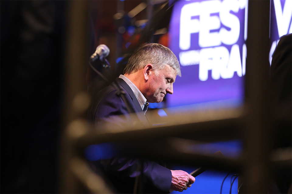 Shortly after watching hundreds come to Christ, Franklin Graham pauses for a moment before talking to the webstream audience, tuning in from over 150 countries throughout the weekend.