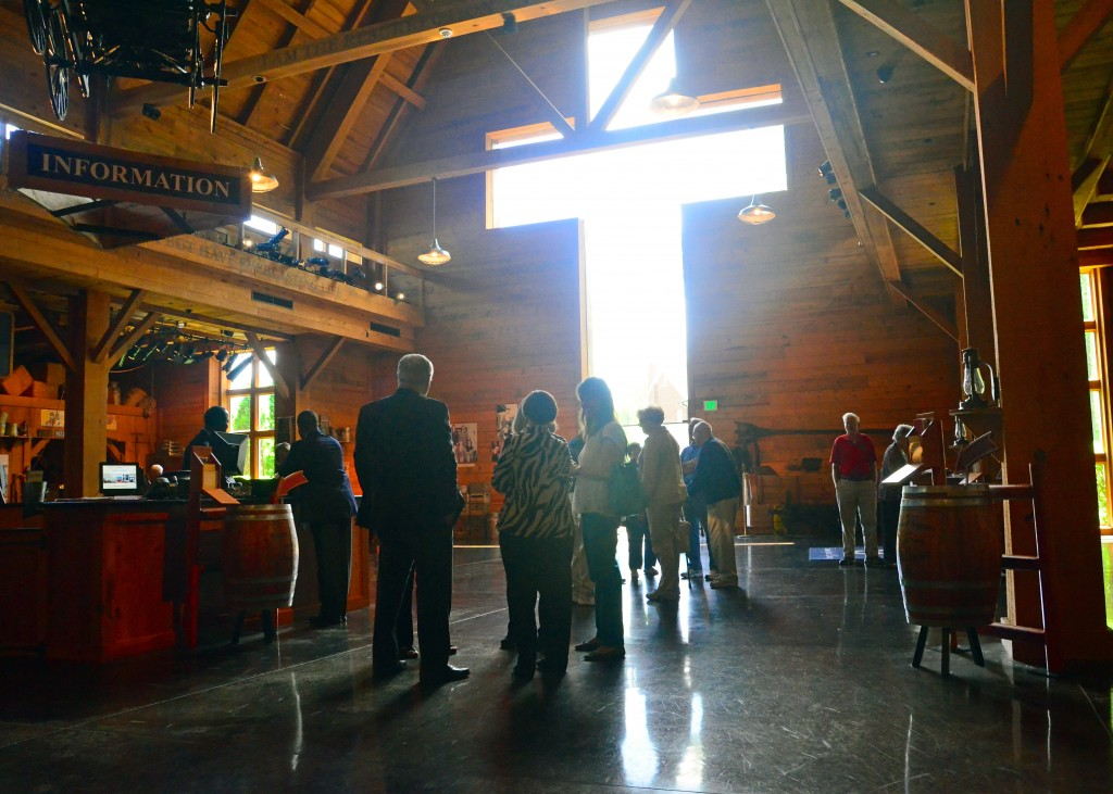 People gather in the Billy Graham Library lobby
