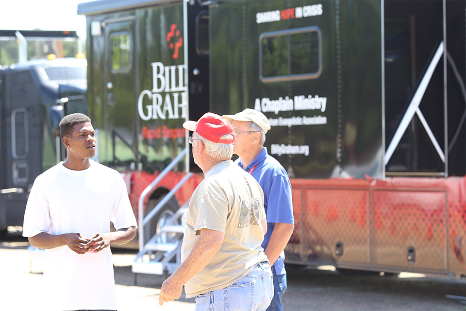 Many conversations were had in front of the Mobile Command Unit.