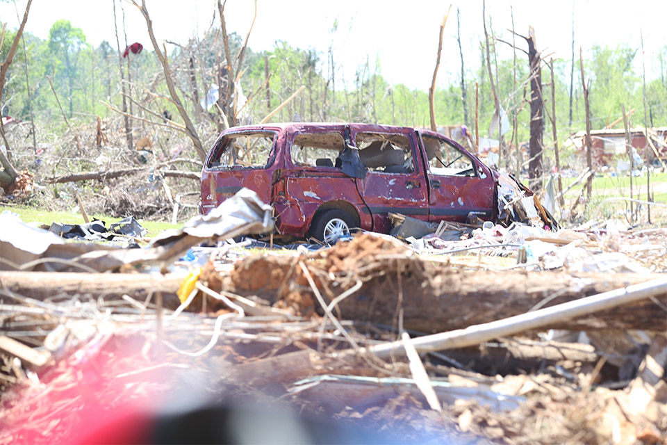 Automobiles were nearly unrecognizable, still in the same spot Monday's storm left them.