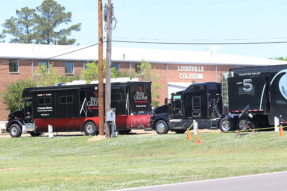 The RRT Mobile Command Unit is stationed at the Louisville Coliseum, right in front of the Samaritan's Purse Disaster Unit.