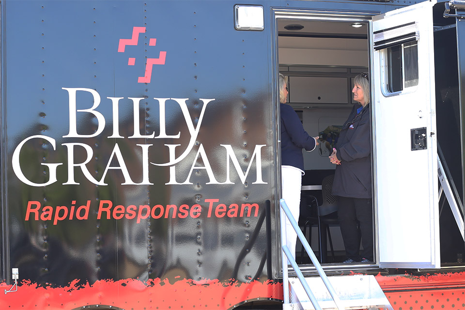 The Rapid Response Team Mobile Command Unit hosted anyone who needed a listening ear, prayer, or a cup of hot coffee or cold bottle of water.