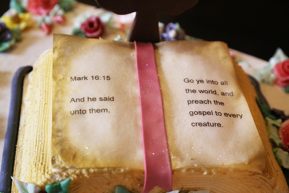 Here is a close up what was was inscribed on the Bible portion of the cake. This Scripture is why we do what we do here at BGEA.
