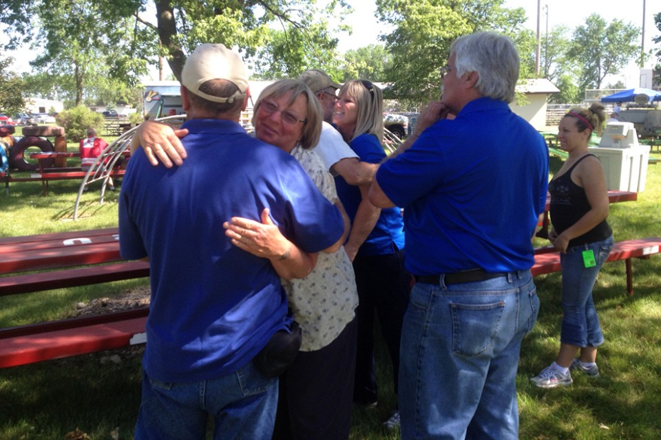 Rapid Response Team chaplains minister to residents in Pilger, Nebraska on Friday