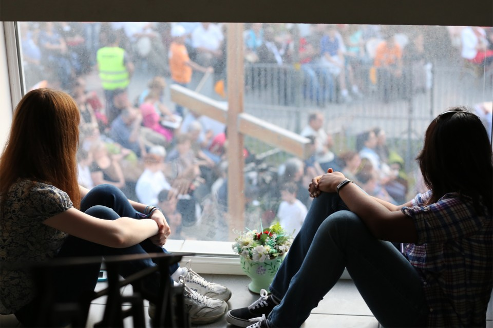 Two prayer warriors overlooking the Festival from one of the upstairs windows at Evangelical Faith Church in Tbilisi, spent the entire Festival praying for God to move in the hearts of Georgians.
