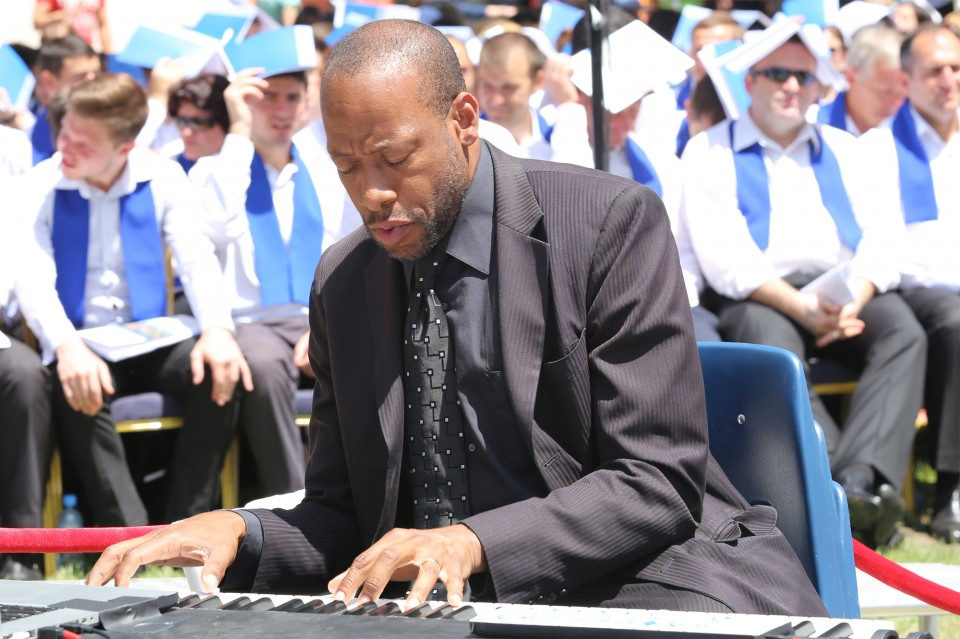 Talented pianist Huntley Brown, of Jamaica, began each service with a melody of hymns and praise music.
