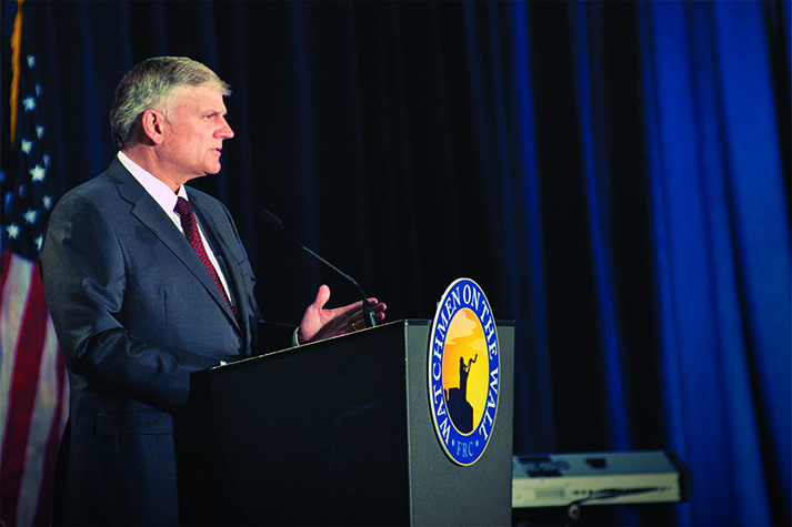 Franklin Graham speaks on the need for courage May 22 after receiving the 2014 Watchmen on the Wall Award.