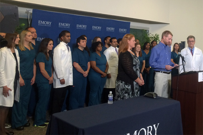 Dr. Kent Brantly speaks at Emory University Hospital on Thursday in Atlanta.