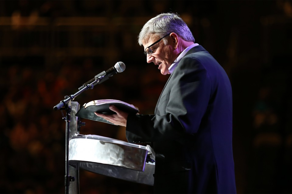 Franklin Graham delivered a Gospel message from Mark 10.