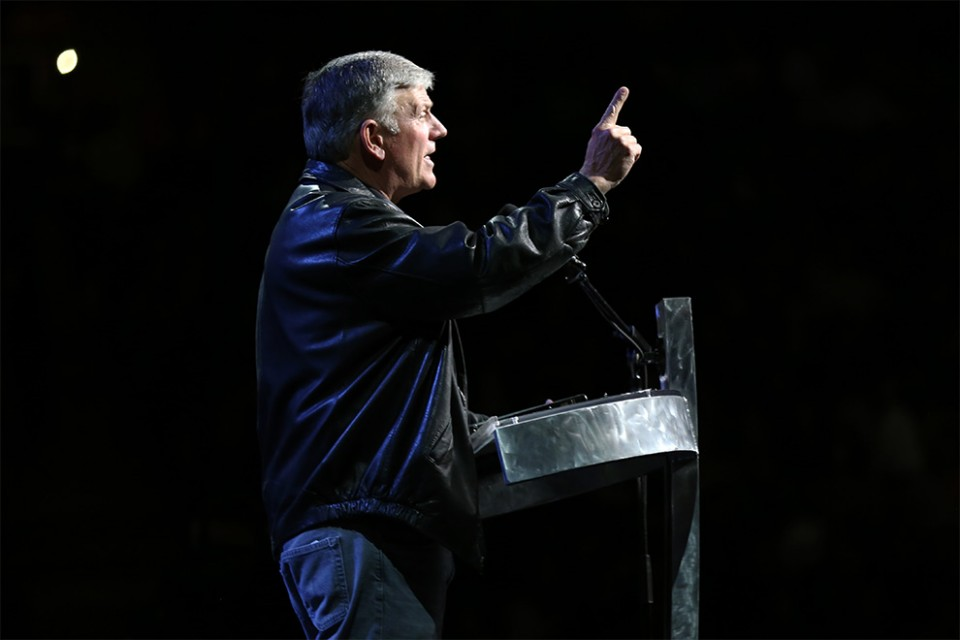 Franklin Graham began his talk comparing the 1960s to today, before launching into the Gospel message.