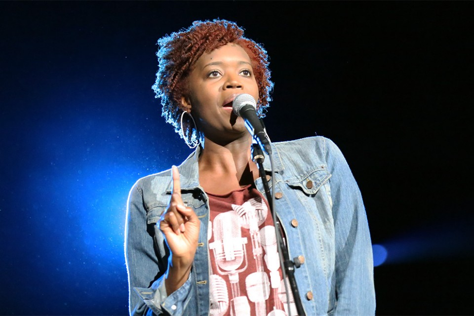 Amena Brown delivered a spoken word piece as a creative way of sharing the hope of Christ to the youth of Greater Toronto.