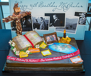 A birthday cake and sign in honor of Billy Graham's 96th birthday on Nov. 7.