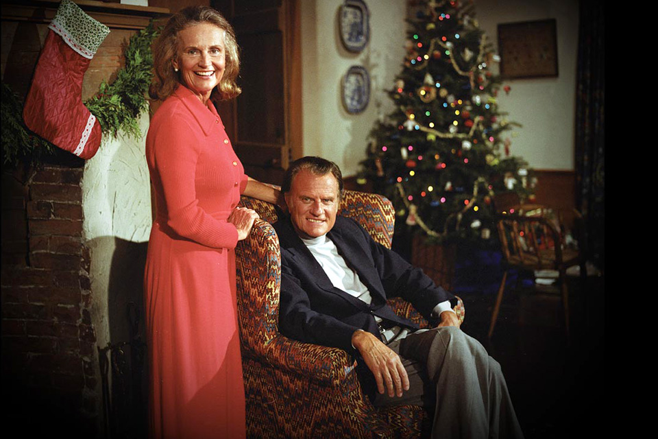 Ruth and Billy Graham by Christmas tree
