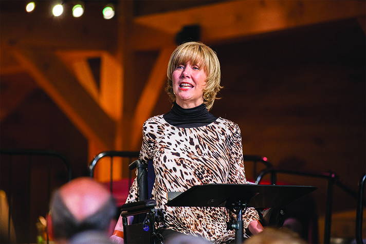 When she is hurting badly, Joni Eareckson Tada says she draws encouragement from how Jesus handled His suffering on the cross. Here she is talking to a crowd gathered for  September book signing at the Billy Graham Library.