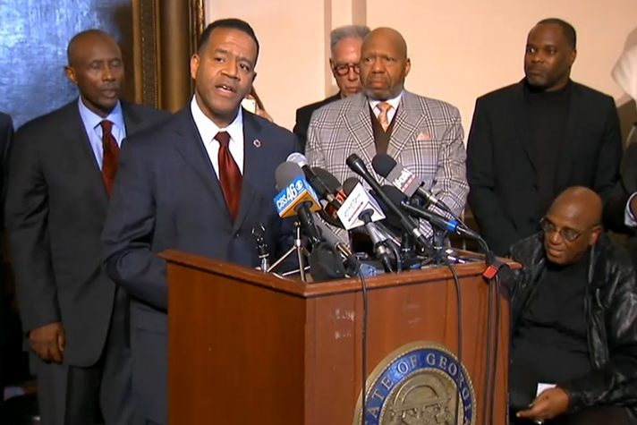 Kelvin Cochran addresses the crowd at the Standing for Our Faith Rally at the Georgia Capital.