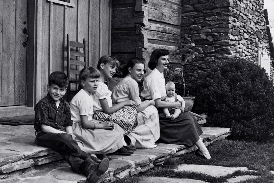 Ruth and kids on porch