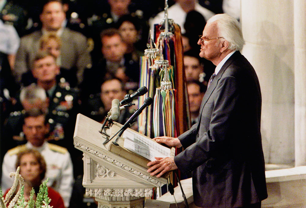 """We've seen so much that brings tears to our eyes and makes us all feel a sense of anger. But God can be trusted, even when life seems at its darkest."" — Billy Graham  (Sept. 14, 2001)."