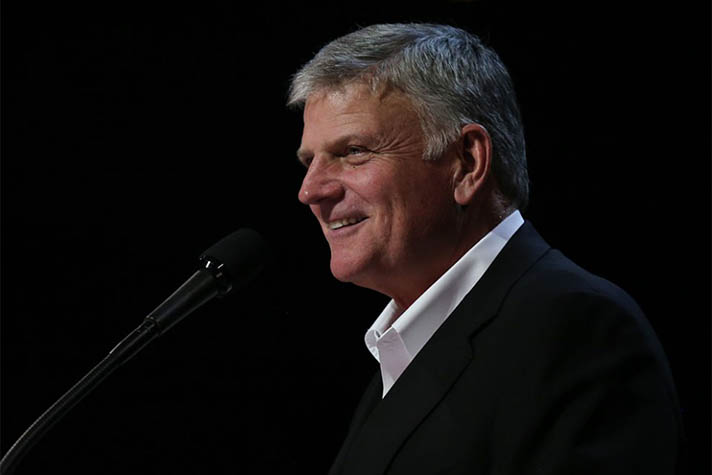 "The real story of Christmas, Franklin Graham said, is the Gospel of Jesus Christ: ""There is no cradle without the cross. There are no swaddling clothes without the folded garments in the empty tomb."""