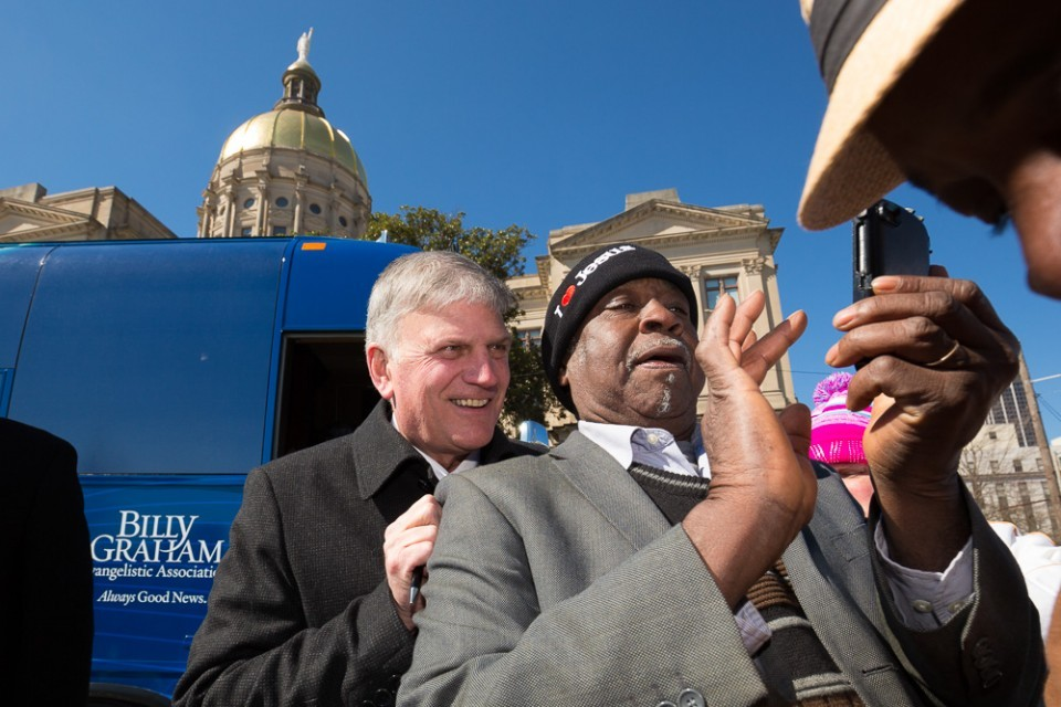 Franklin Graham and man taking selfie