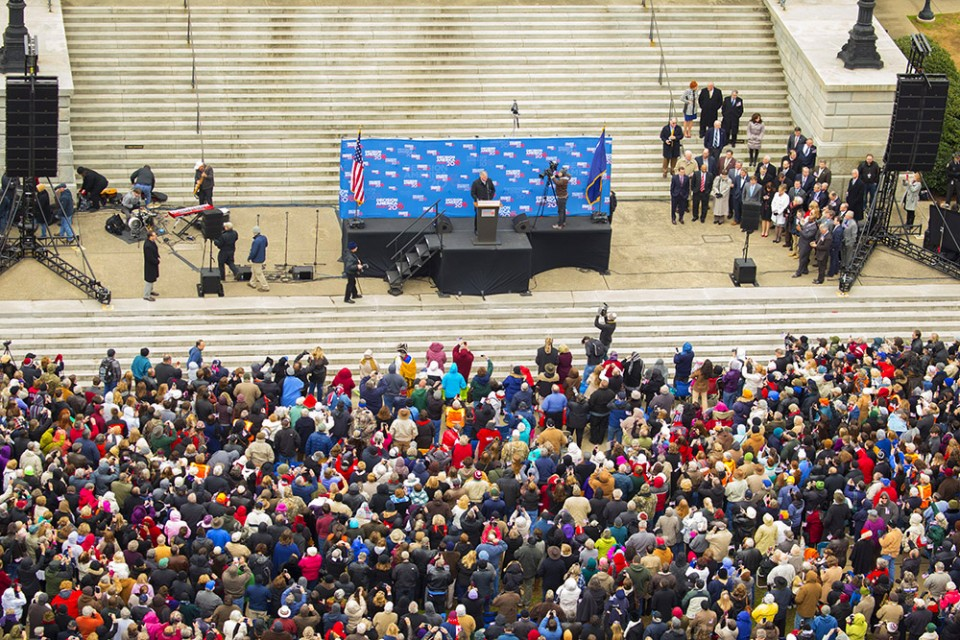 """We're here today because we see our nation is in trouble,"" Franklin Graham told the audience, which filled the north side of the Columbia State Capitol. ""Our only hope for this country is Almighty God, and the most important thing we can do is pray."""