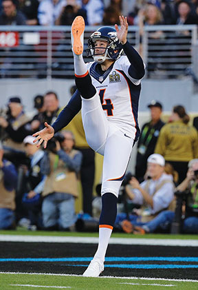 Denver Broncos' Britton Colquitt punts against the Carolina Panthers during the first half of the NFL Super Bowl 50 football game Sunday, Feb. 7, 2016, in Santa Clara, Calif. (AP Photo/Julio Cortez)