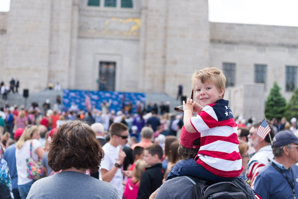 An estimated 3,200 people joined Franklin Graham at the Nebraska State Capitol on Wednesday for prayer. This little guy was ready.