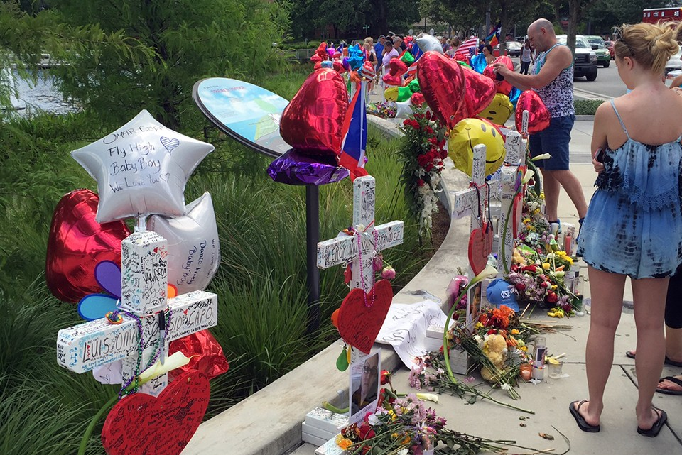 Crosses are set up in memory of the 49 people killed during the mass shooting.