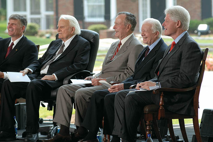 Past presidents George H.W. Bush, Jimmy Carter and Bill Clinton came to the dedication of the Billy Graham Library in May 2007.
