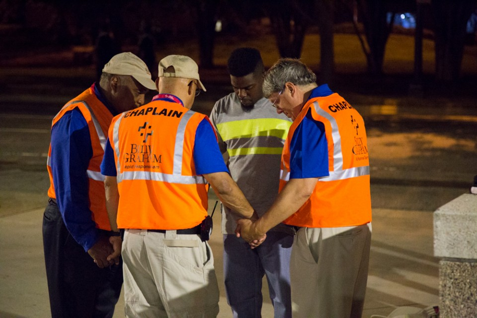 Crisis-trained chaplains with the Billy Graham Rapid Response Team in downtown Charlotte, North Carolina, have been offering a ministry of presence during an ongoing deployment.