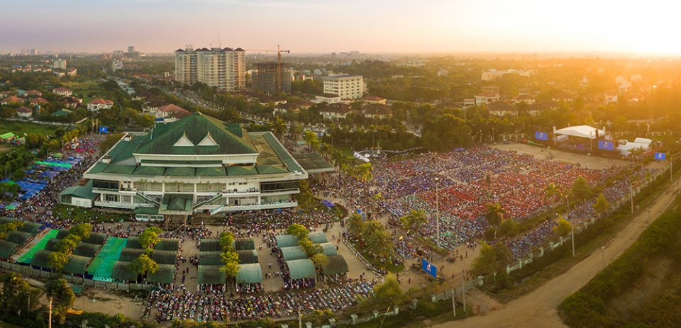 Aerial picture of Festival. Shows large crowd at Myanmar Convention Center