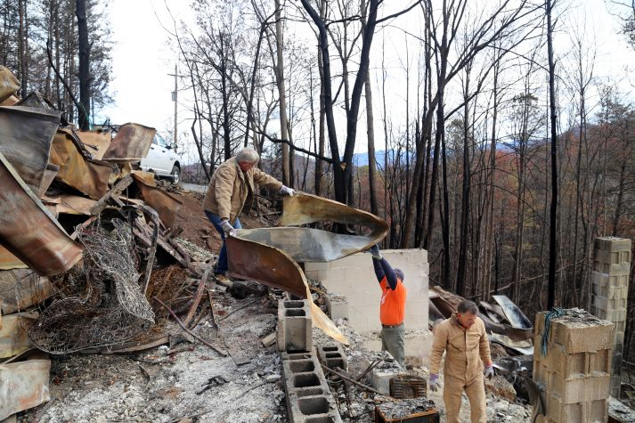 Pete and Joy Junker's home was one of the structures burned by the wildfire in Gatlinburg. Samartian's Purse volunteers are helping the Junkers with clean-up.