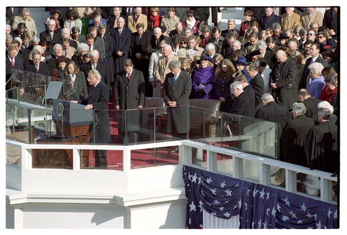 Billy Graham offers the invocation during President Bill Clinton's first inauguration in 1993.